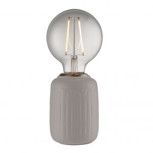 Olivia 1 Light E27 Gloss Taupe Glaze Handmade Ceramic Table Lamp With Satin Nickel Metalwork With Inline Switch