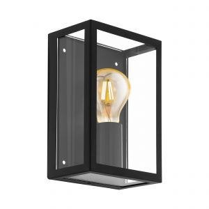 Alamonte 1, 1 Light E27 Outdoor IP44 Black Wall Light With Clear Glass