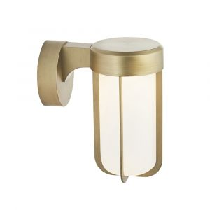 Pacato 1 Light 8W Integrated LED 2700K, 470lm Brushed Gold Die Cast IP44 Outdoor Wall Light With Frosted Glass Shade