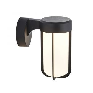 Pacato 1 Light 8W Integrated LED 2700K, 470lm Brushed Black Die Cast IP44 Outdoor Wall Light With Frosted Clear Glass Shade