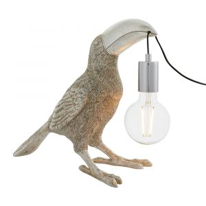 Gatto 1 Light E27 Vintage Silver Toucan Table Lamp With Inline Switch