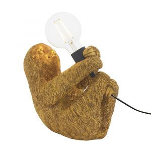 Gatto 1 Light E27 Vintage Gold Sloth Table Lamp With Inline Switch