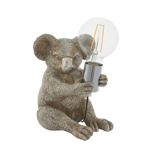 Gatto 1 Light E27 Vintage Silver Koala Table Lamp With Inline Switch