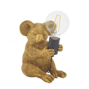 Gatto 1 Light E27 Vintage Gold Koala Table Lamp With Inline Switch