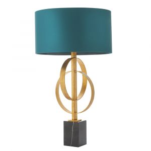 Vitra 2 Light E27 Gold Leaf Double Hoop Table Lamp With Inline Switch C/W Teal Shade
