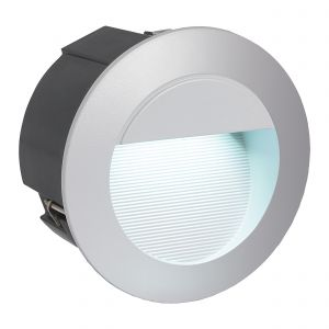 Zimba-LED 1 Light LED Integrated Outdoor IP54 Silver Round Wall Light With White Diffuser