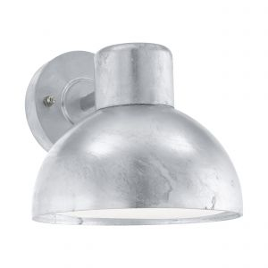 Entrimo 1 Light E27 Outdoor IP44 Wall Light Galvanized Steel With White Plastic Diffuser