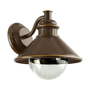 Albacete 1 Light E27 Outdoor Ip44 Brown Wall Light With Clear Glass