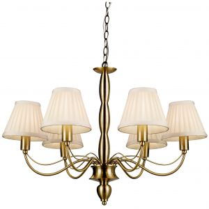 Charleston 6 Light E14 Antique Brass Adjustable Pendant (Shades Not Included)