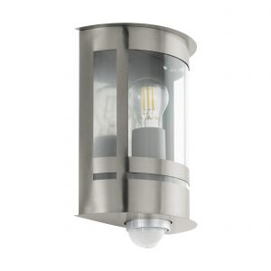 Tribano 1 Light E27 Outdoor IP44 PIR Sensor Stainless Steel Wall Light With Transparent Plastic Panel