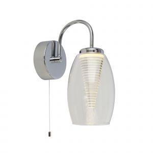 Sorrel 1 Light 6W 414lm Integrated LED Chrome Switched Wall Light With Clear Glass Shade 3000K