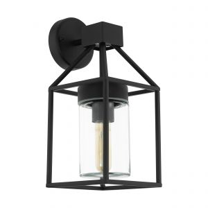 Trecate 1 Light E27 Outdoor IP44 Black Wall Light With Clear Glass