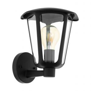 Monreale 1 Light E27 Outdoor IP44 Up Wall Light Black With Plastic Transparent Panels