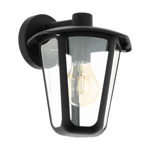 Monreale 1 Light E27 Outdoor IP44 Down Wall Light Black With Plastic Transparent Panels