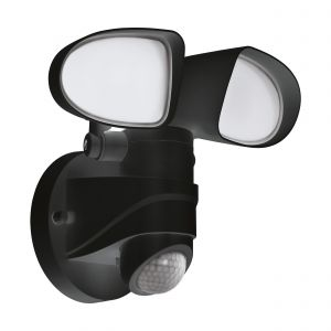 Pagino 1 Light LED Integrated Outdoor Ip44 Double Insulated PIR Sensor Blac Wall Light With Plastic White Diffuser