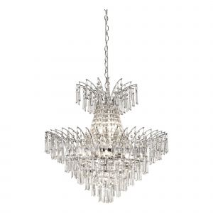 Monti 9 Light E14 Polished Chrome Chandelier Ceiling Light With Clear Glass Droplets