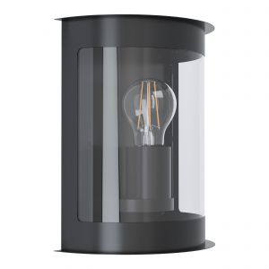 Daril 1, 1 Light E27 Outdoor IP44 Black Wall Light With Clear Plastic Panels