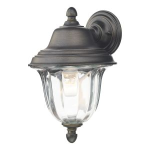 DAR ALD1635 Aldgate Single Outdoor Wall Light Black Gold/Clear Glass Finish