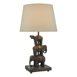 Alina 1 Light E14 Antique Bronze Elephant Table Lamp C/W With Taupe Faux Silk Shade