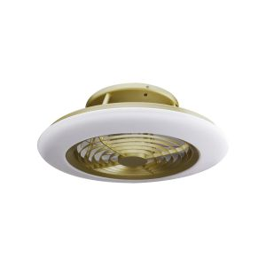 Alisio 70W LED Dimmable Ceiling Light With Built-In 35W DC Reversible Fan, Matt Burnished Gold/White Finish c/w Remote Control and APP Control