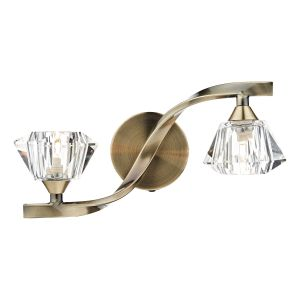 DAR ANC0975 Ancona Double Wall Light Antique Brass/Crystal Finish Switched