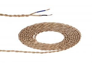 Nu Prema 1m Rose Gold Braided Twisted 2 Core 0.75mm Cable VDE Approved (MOQ 25m Roll)