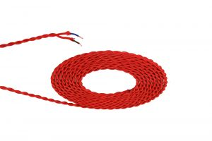 Nu Prema 1m Red Braided Twisted 2 Core 0.75mm Cable VDE Approved (MOQ 25m Roll)