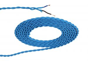 Nu Prema 1m Blue Braided Twisted 2 Core 0.75mm Cable VDE Approved (MOQ 25m Roll)