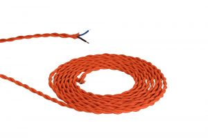 Nu Prema 1m Orange Braided Twisted 2 Core 0.75mm Cable VDE Approved (MOQ 25m Roll)