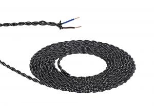 Nu Prema 1m Black & White Spot Braided Twisted 2 Core 0.75mm Cable VDE Approved (MOQ 25m Roll)