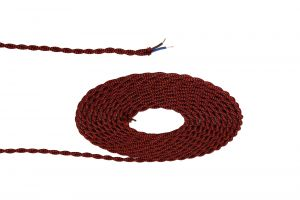 Nu Prema 1m Red & Black Wave Stripe Braided Twisted 2 Core 0.75mm Cable VDE Approved (MOQ 25m Roll)