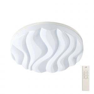 Mantra M5041R Arena Ceiling/Wall Light Medium Round 40W LED IP44, Tuneable 3000K-6500K, 3200lm, Dimmable via RF Remote Ctrl Matt White/White Acrylic, 3yrs Warranty