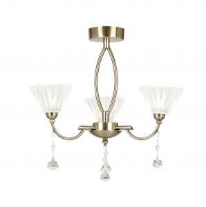 Endon ARKIN-3AB 3 Light Ceiling Fitting In Antique Brass With Clear & Frosted Glass 3 Light In Brass