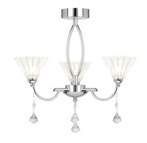 Endon ARKIN-3CH 3 Light Ceiling Fitting In Chrome With Clear & Frosted Glass 3 Light In Chrome
