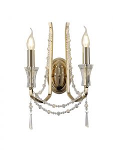 Armand Wall Lamp 2 Light E14 French Gold/Crystal