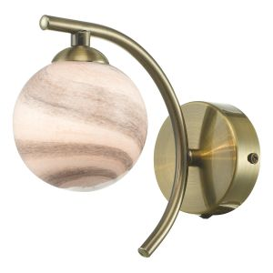 Atiya Wall Light Antique Brass With Planet Style Glass