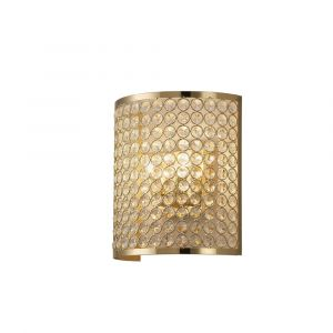 Diyas IL30759 Ava Wall Lamp Rectangle 2 Light French Gold/Crystal