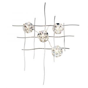 Diyas Home IL70018  (DH) Aviance Illuminated Small Switched 4 Light Wall Lamp Art Polished Chrome/Crystal