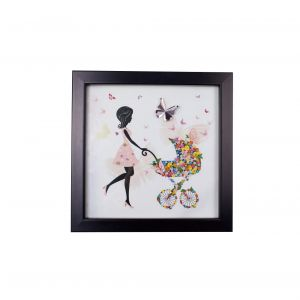 Diyas Home IL70521 (DH) Bambino Mother With Pram, Black Frame Pink Crystal