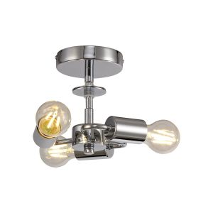 Baymont Polished Chrome 3 Light E27 Universal Flush Ceiling Fixture, Suitable For A Vast Selection Of Shades