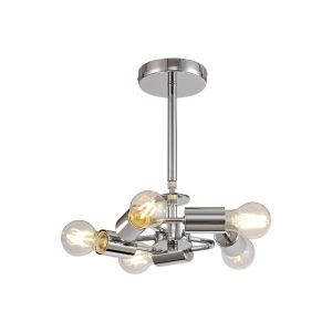 Baymont Polished Chrome 5 Light E27 Universal Semi Ceiling Fixture, Suitable For A Vast Selection Of Shades