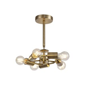 Baymont Antique Brass 5 Light E27 Universal Semi Ceiling Fixture, Suitable For A Vast Selection Of Shades