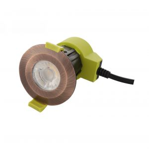 Bazi, 10W, 350mA, Antique Copper, Dimmable LED Downlight, Cut Out: 70mm, 840lm, 38° Deg, 5000K, IP65, DRIVER INC., 5yrs Warranty