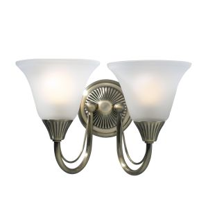 DAR BOS09 Boston Double Wall Light Antique Brass/Opal Glass Finish Switched