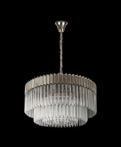 Brewer Pendant Round 12 Light E14, Polished Nickel/Clear Glass, Item Weight: 25.4kg