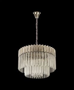 Brewer Pendant Round 8 Light E14, Polished Nickel/Clear Glass Item Weight: 17.3kg