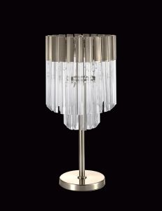 Brewer Table Lamp 3 Light E14, Polished Nickel/Clear Glass