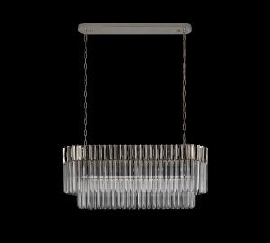 Brewer Pendant Rectangle 5 Light E14, Polished Nickel/Clear Glass, Item Weight: 21.2kg