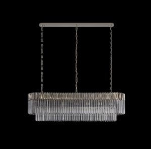 Brewer Pendant Rectangle 7 Light E14, Polished Nickel/Clear Glass, Item Weight: 28kg
