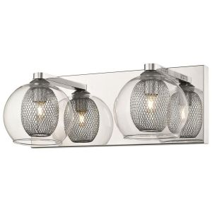 Doralice 2 Light G9 Polished Chrome Double Insulated Wall Light With Inner Chrome Mesh & Outer Clear Glass
